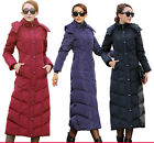 Womens Winter Long Duck Down Jackets Full Length Parka Hooded Coat Warm Plus New