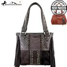 2 CLRS! Montana West Concealed Handgun Double Strap Studded Genuine Cowhide Bag
