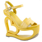 Yellow Strappy Heart Heel Wedge Bridesmaid Wedding Sandals Size 2.5-8