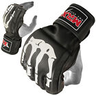 MMA Gloves Grappling Glove Cage Boxing Fight MRX Bone Design Mitt Leather, Black