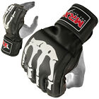MMA Grappling Gloves Cage Fight MRX Boxing Leather Glove Bone Design Mitt Black