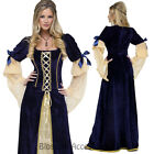 K271 Blue Long Gown Game Thrones Renaissance Medieval Queen Fancy Dress Costume