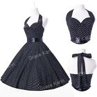 Vintage Style Polka Dots 50's 60's Jive Housewife Swing Pinup Evening Prom Dress