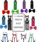 Quality SUSPENDERS and BOW TIE MATCHING SET Tuxedo Wedding Party Suspender USA