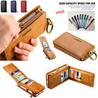 2in1 Business Leather 18 Card Hold Wallet Case Apple iPhone 5 6 7 Samsung Huawei