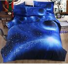 3D Galaxy Cosmos Bedding Set Double/Queen Cover Bed Sheet Pillow Case 47in 70in