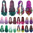 Women Ombre Colors Pastel Cotton Candy Full Wig Anime Cosplay Party Curly Hair
