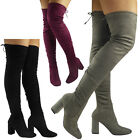WOMENS LADIES THIGH HIGH OVER THE KNEE LONG LACE UP BLOCK HEEL BOOTS SHOES SIZE