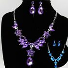New Fashion Women's Flower Crystal Pendant Earrings Hook Necklace Jewelry Set