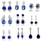 Luxury Vintage Style Blue Crystal Stud Drop Dangle Evening Party Bridal Earrings