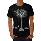 Wellcoda Tree Cloud Space Nature Mens T-shirt, Dream Graphic Design Printed Tee