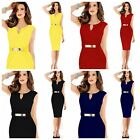 New Women's V Neck Bodycon Contrast Optical Cocktail Evening Ladies Pencil Dress