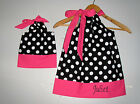Doll and me Clothing  dress Black dots hot  pink Pillowcase dress monogram