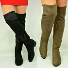 New Womens Ladies Over Knee Flat Boots Pull On Suede Shoes Suede Size Uk 3-8