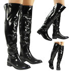 WOMENS LADIES OVER THE KNEE HIGH BIKER BOOTS LOW HEEL PATENT SHOES SIZE