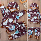 2PCS Newborn Baby Boy Girl Long Sleeve Hooded Tops Playsuit +Pants Outfits Set