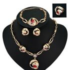 Fashion 18K Gold Plated Necklace Bracelet Ring Earring Set Red Rhinestone Luxury