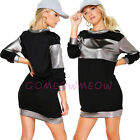 Silver Velvet Colorblock Crew Neck Jumper Long Sleeve Tunic Longline Shirt Dress