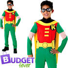 Robin Boys Fancy Dress Teen Titans Superhero Comic Book Day Childs Kids Costume