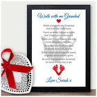 Walk with me Grandad Personalised Poem Keepsake Christmas Birthday Xmas Gifts