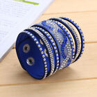 Chic Multilayer Womens Crystal Leather Bracelet Cuff Bangle Jrewelry Party Gift