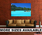 Wall Art Canvas Picture Print - Tropical Island Palm Trees Blue Water 3.2