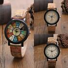Mens Womens Floral Vintage PU Leather Analog Stainless Steel Quartz Wrist Watch