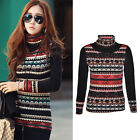 New Women Long Sleeve Turtleneck Casual Tops Knit Sweater Winter T-shirt Blouse