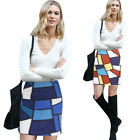 Women Chic Geometric Contrast Colorblock Patchwork Casual Party Short Skirt 4368