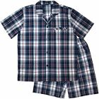 Pyjamas Mens Short Sleeve 2 pc Summer PJs Set (Sz S-4XL) Navy Red Cheques