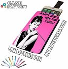 Audrey Hepburn Happy Girls Pretty PINK - Universal Leather Phone Case Cover