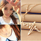 Fashion Women Heart Beat Pendant Stainless Steel with Chain Made Necklace Gift