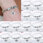 Silver Diamante Crystal Love Heart Bangle Charm Bracelet Family Jewellery Gifts