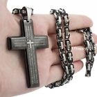 Men's Cool Black Stainless Steel Bible Cross Pendant Byzantine Necklace Jewelry
