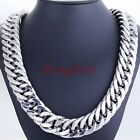 "21mm Men's Strong 316L Heavy Wide Silver Stainless Steel Curb Necklace 18""-40"""