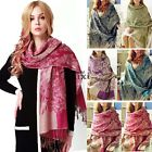 NEW Women Jacquard Pashmina Winter Warm Soft Wrap Shawl Hood Cowl Scarf TXWD