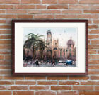 Fine Art Print of Spanish City Street Scene Watercolour Painting Urban Landscape