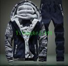 winter running pants - Vogue Mens Hooded Padded Winter Warm Sport Suits Outdoor Running Coat+Pants New