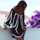 Summer Boho Women Off Shoulder Long Sleeve Casual Loose Party Beach Mini TXWD