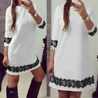 Summer Casual Women Lady Lace Dress 3/4 Sleeve Loose Mini Dress Party TXWD
