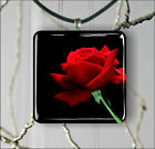 FLOWER RED ROSE #1 PENDANT NECKLACE 3 SIZES CHOICE -lrt6Z