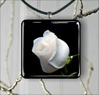 FLOWER WHITE ROSE PENDANT NECKLACE 3 SIZES CHOICE -ghr5Z