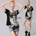 Women Summer O-Neck Floral Blouse irregular Hem Short Sleeve Top Shirt TXWD