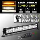 """24"""" 120W Combo Double Color LED Light Bar Driving Offroad SUV +Remote Controller"""
