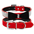 Red and Black Rhinestone Dog Collar With Bow size Small medium Bling Sparkly
