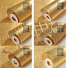 10M Gold FOIL EMBOSSED FEATURE 3D TEXTURED Pattern Wallpaer Rolls Background