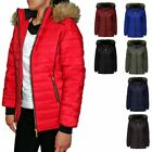 NEW LADIES QUILTED HOODED PUFFER BUBBLE FUR PARKA WARM THICK WOMENS JACKET COAT