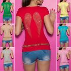 Womens Angel Wing Short Sleeve Top with Bows - S/M, M/L