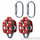 Block and Tackle Pulley System with Steel Carabiners for Industrial Hauling Work