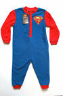 BOYS SUPERMAN ONESIE ALL IN ONE FLEECE PYJAMA 18 MONTHS- 5 YEARS AVAILABLE.